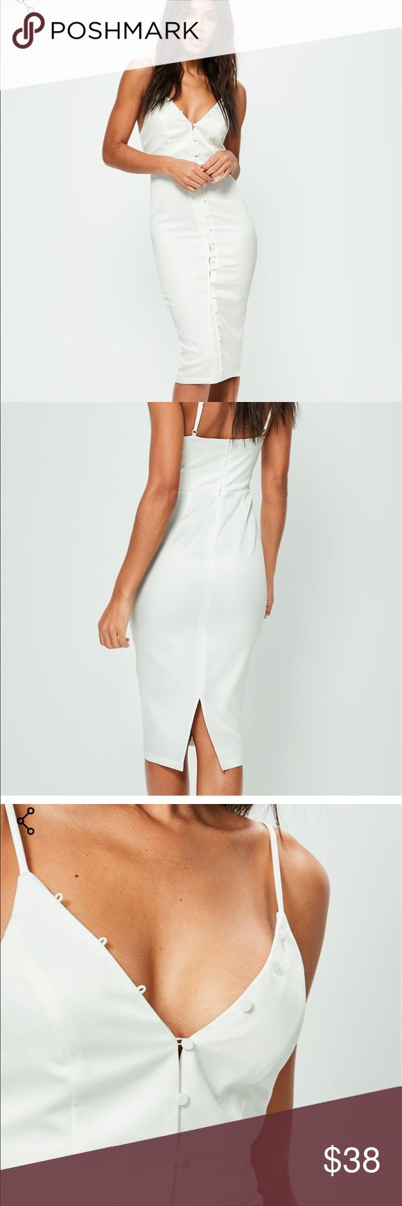 Missguided  white Crepe button detail dress BNWOT Missguided white knee length button detail dress. Sz 6 Missguided Dresses Midi