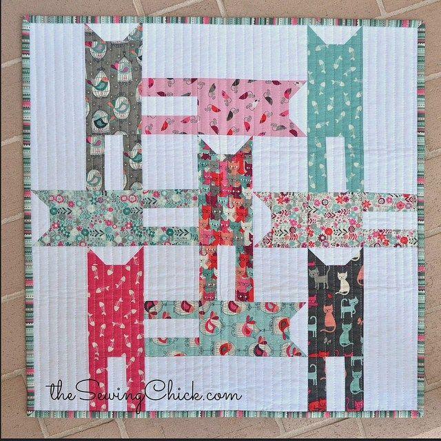 tutorial cat weave mini quilt in makower cats