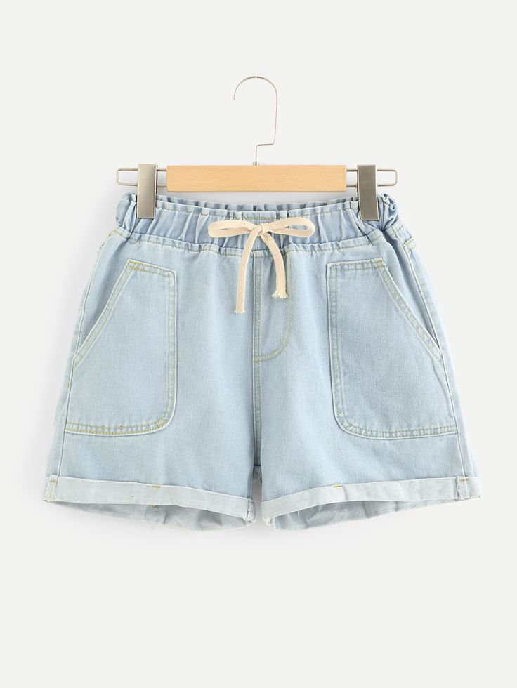 Dual Pocket Drawstring Waist Denim Shorts -SheIn(Sheinside)