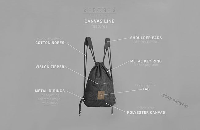 Black canvas drawstring backpack with personality for my brand Kerorek. The Kerorek bags will be soon available for pre-order in Indiegogo. The bag will be available both in leather and in all vegan canvas series.