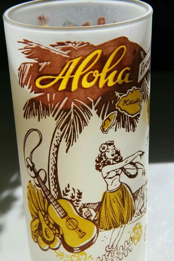 Aloha Tiki Hula Girl & Guitar Glass