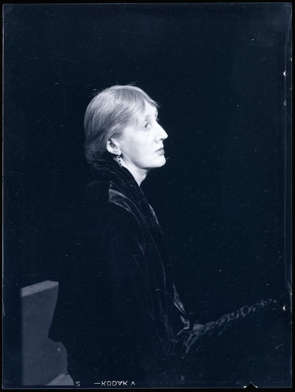 "Virginia Woolf, 1935 photo by Man Ray who wrote in his biography, ""Self-portrait"" that Virginia was annoyed at having to wear blush and lipstick for the picture but did not remove it afterwards."