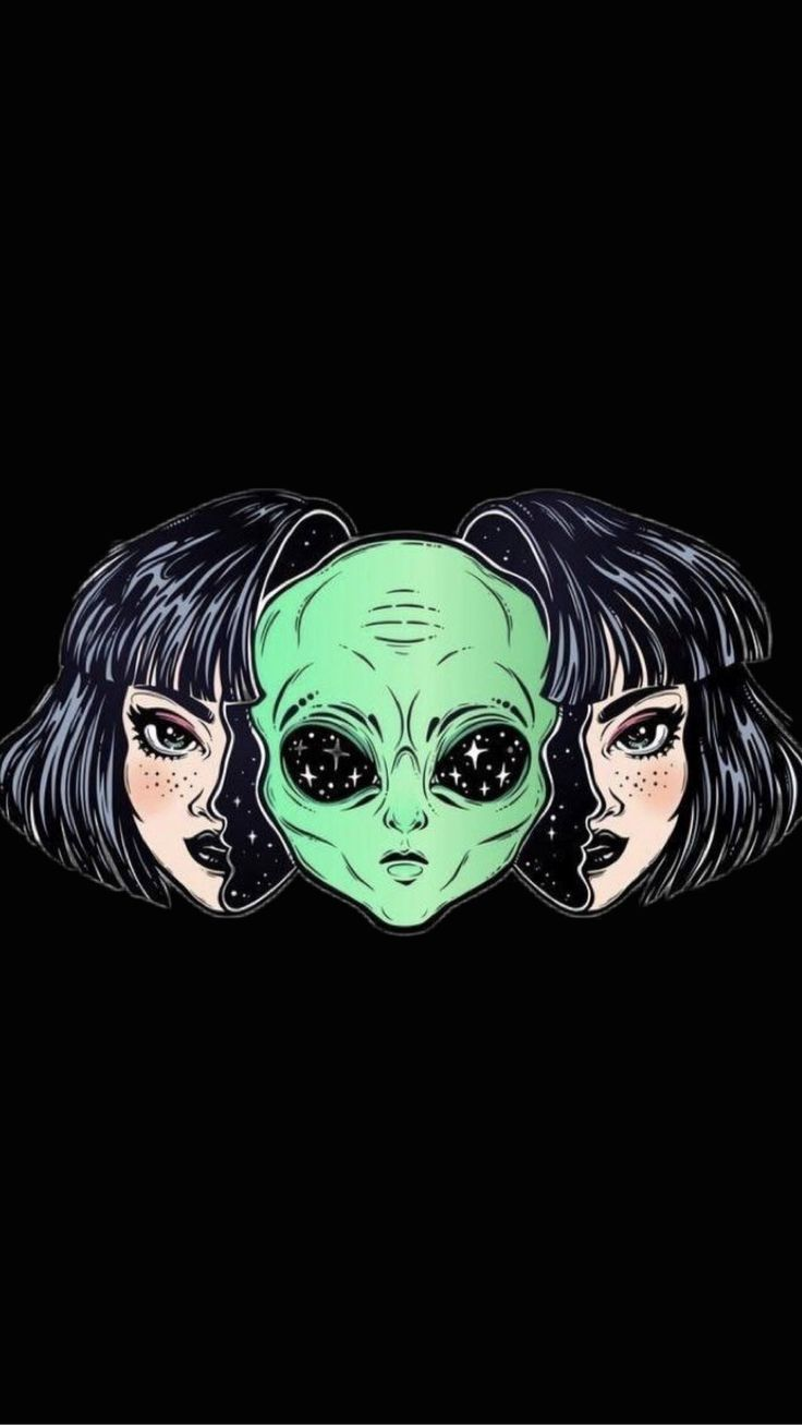 Black Lockscreen Wallpaper Background Aesthetic Alien Space Girl Maelle Pin Alien Art Art Psychedelic Art