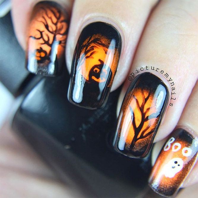 Super Stylish Halloween Nails That Will Blow Your Mind ★ See more: http://glaminati.com/stylish-halloween-nails/