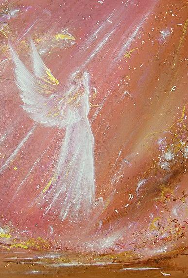 """Beperkte engel kunst foto """"ontmoet een engel"""", moderne engel schilderen, kunstwerk, ideaal ook voor fotolijst, gift, spirituele, magic, mystic"""