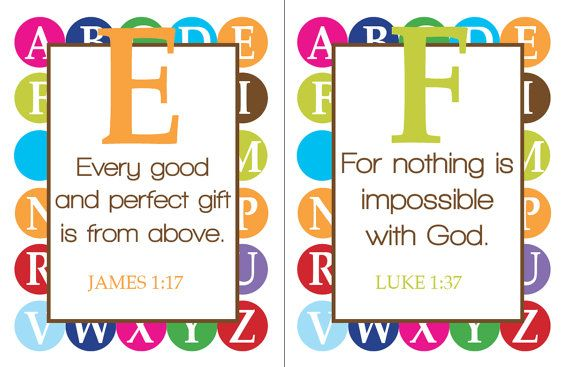 ABC scripture... We should do this in our Sunday School rooms!