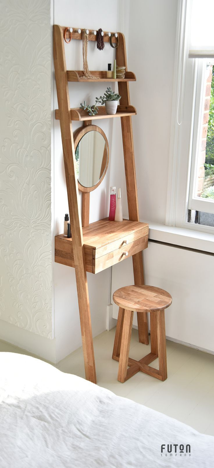 Oak Leaning Mini Dressing Table - Designed to simply lean against the wall, this clever invention is easily moved around, ideal for small space living. What's more, the mirror can be adjusted to accommodate any height.