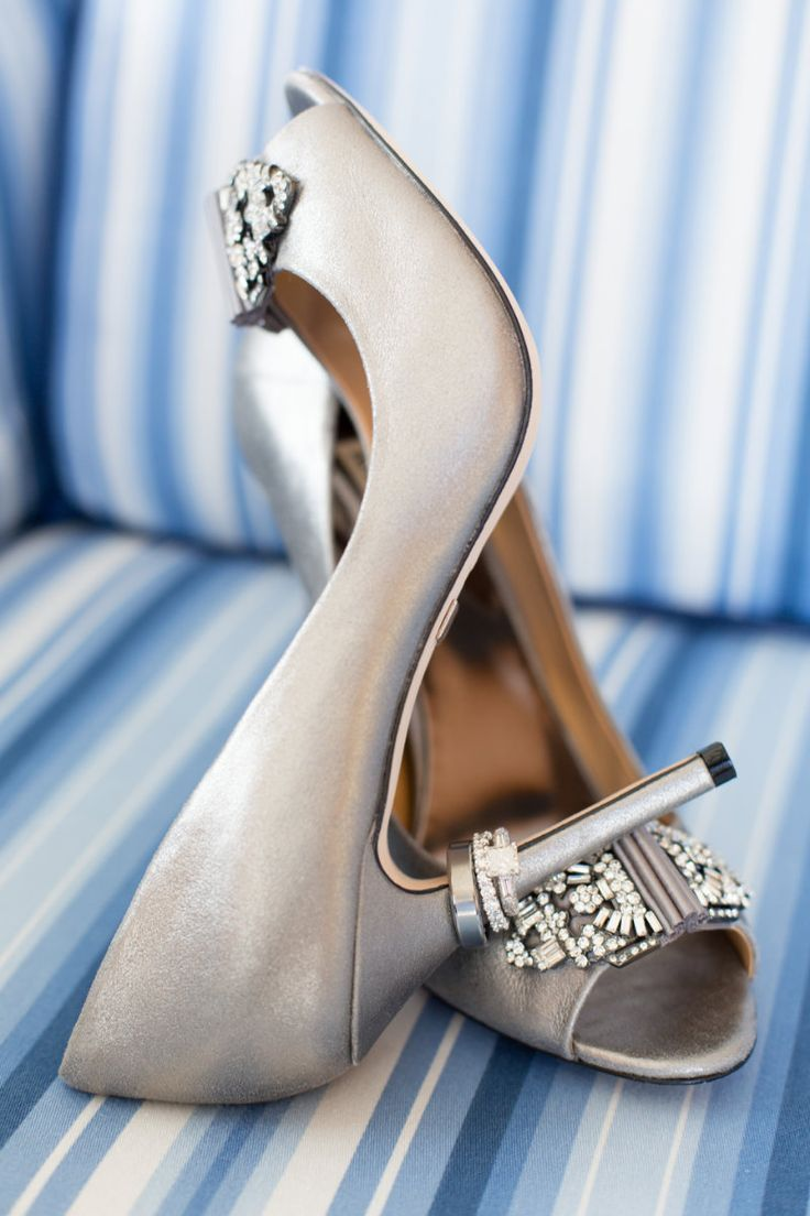 Nautical wedding captured by Heather Funk Photography at the Raleigh in Miami Beach, FL // silver and blue wedding ideas // classic and preppy wedding inspiration // Badgley Mischka wedding shoes // wedding detail inspiration