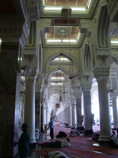 Inside view of Al-Masjid al-Ḥarām Mosque in Mecca, Saudi Arabia