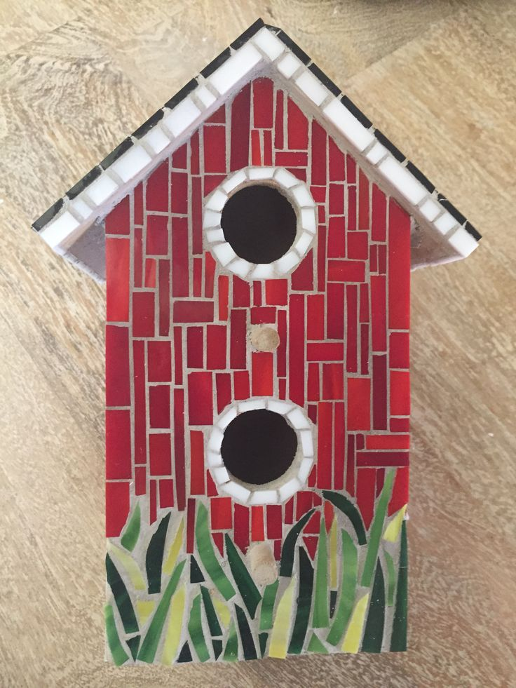 Birdhouse stained glass mosaic, front