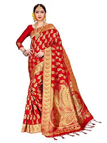 1e6caa1ef7 ELINA FASHION Sarees For Women Banarasi Art Silk Woven Saree l Indian  Wedding Traditional Wear Sari and Blouse Red One Size