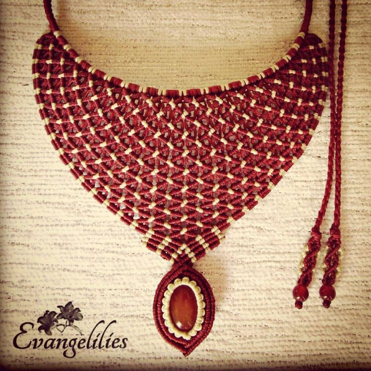 """215 Likes, 15 Comments - Evangelia Matoula (@evangelilies) on Instagram: """"✿ """"Arachne"""" macrame necklace with Carnelian stones #macrame #macramenecklace #micromacrame…"""""""