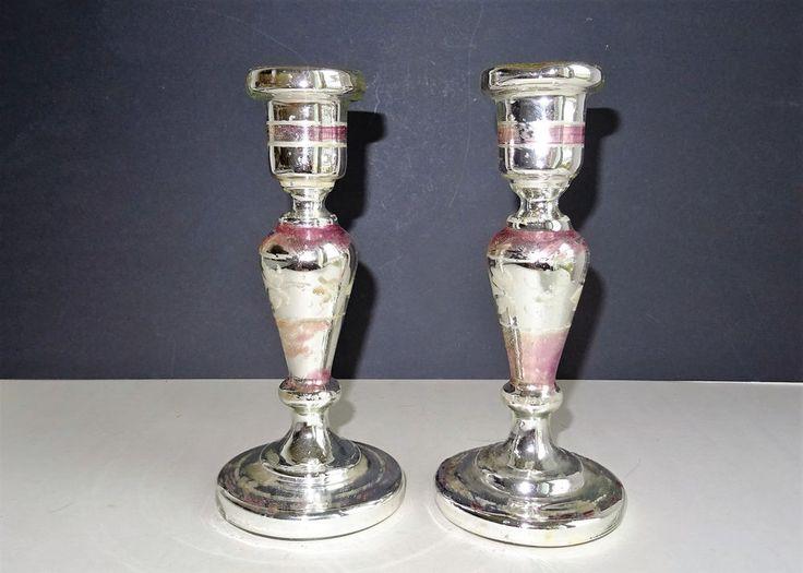ANTIQUE BAUERNSILBER KERZENLEUCHTER KERZENHALTER SILBERGLAS SILVER GLASS  | eBay