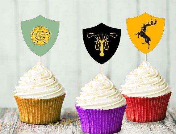 Game of Thrones Cupcake Toppers  House Banners  Stark