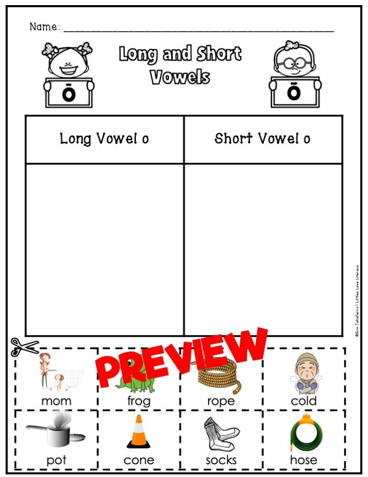 Long And Short Vowel Worksheets Word Sorts Kindergarten