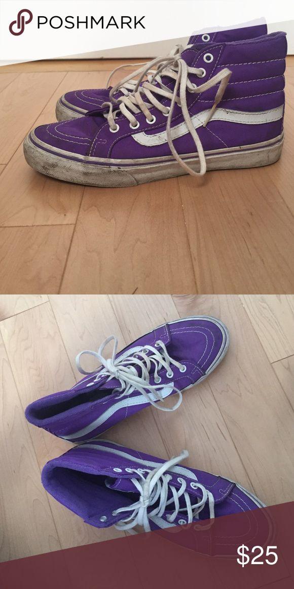 Purple Vans skate highs Purple sk8 hi vans, a little worn but willing to drop price-- 🤘🏼 Vans Shoes Sneakers