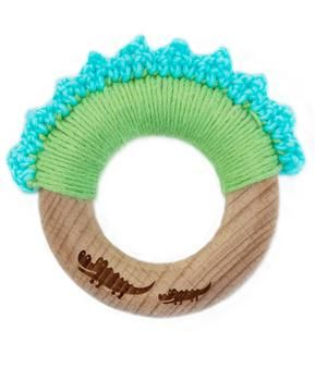 """Organic Wooden Baby Teething Ring """"Baby Crocodile"""". 50% off! Special on our Crocodile Collection - This week only!"""
