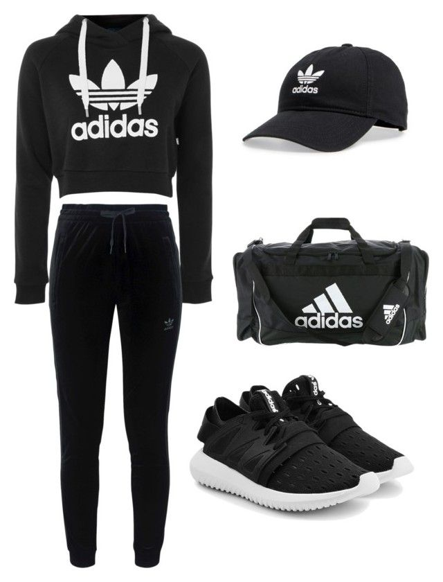 """Adidas black sport"" by kehichabelle on Polyvore featuring adidas and adidas Originals"
