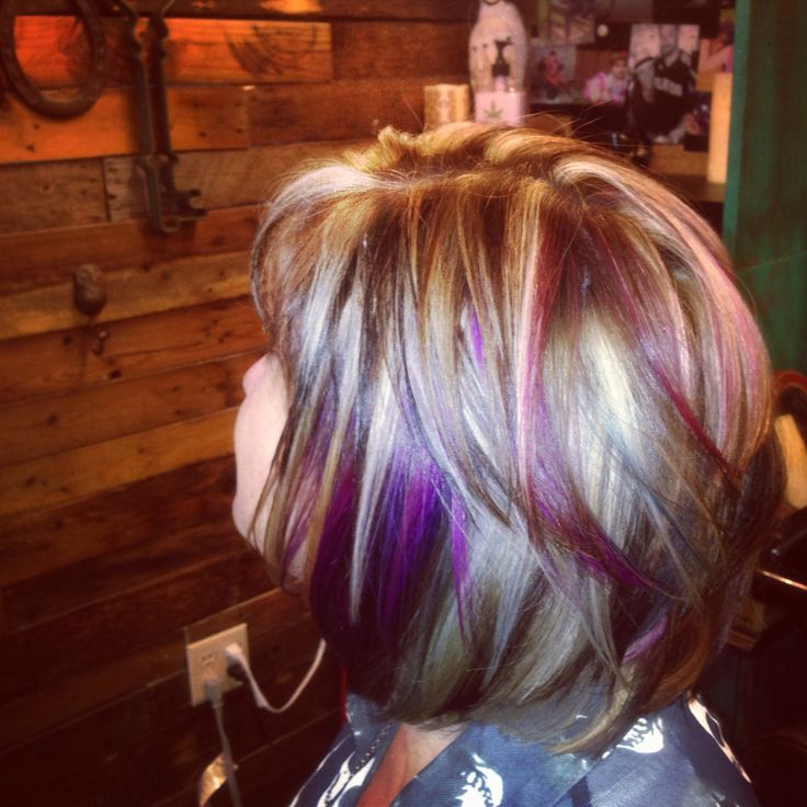 Dark Hair With Bright Blonde And Purple Highlights Hair