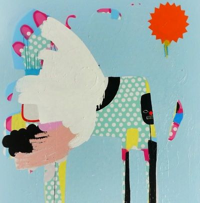 Kate McCarthy Penny mixed on canvas 1m x 1m 2014  SOLD www.pennycontemporary.com.au