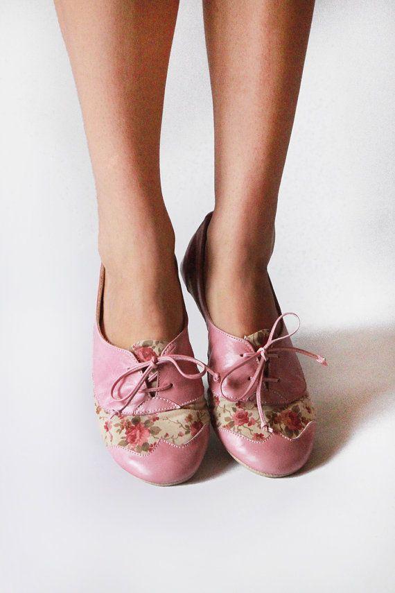 Rose Tea Party  chaussures plates en cuir & par TheDrifterLeather