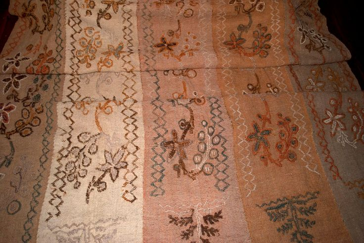 Large Early Primitive Handwoven Homespun and Wool Crewel Textile with Natural Dye--Magnificent!