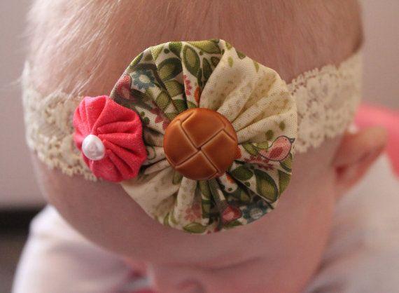 Lace headband... baby girl headband... shabby chic by ElianasCove, $14.00