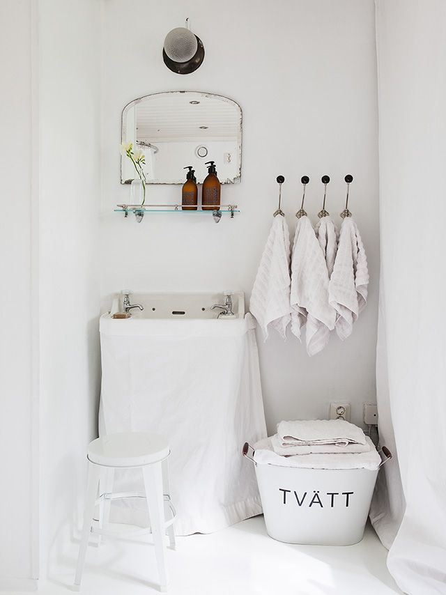 all white country bathroom