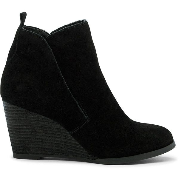 Sole Society Brigitte Stacked Wedge Bootie featuring polyvore, women's fashion, shoes, boots, ankle booties, black, black ankle booties, suede wedge bootie, black suede booties, black booties and black ankle boots