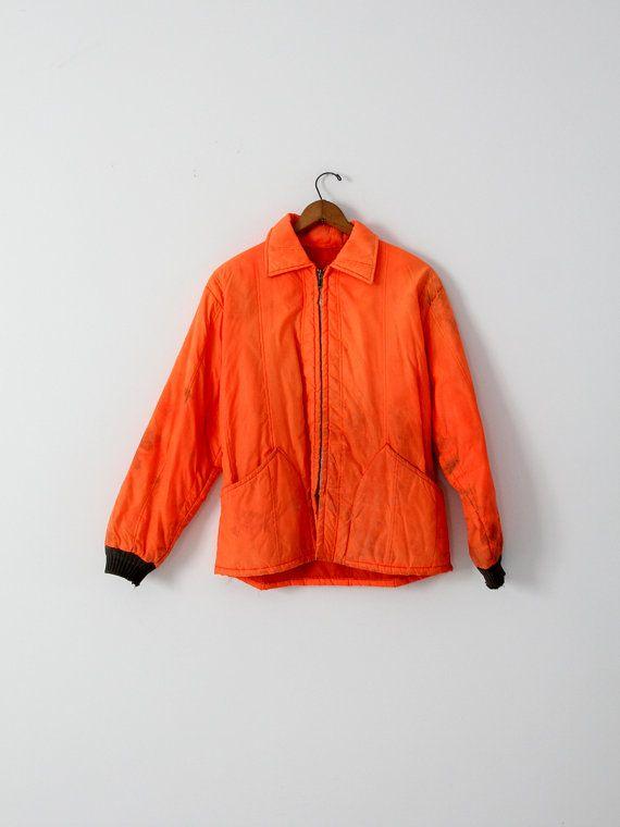 vintage hunting jacket orange nylon coat by IronCharlie on Etsy