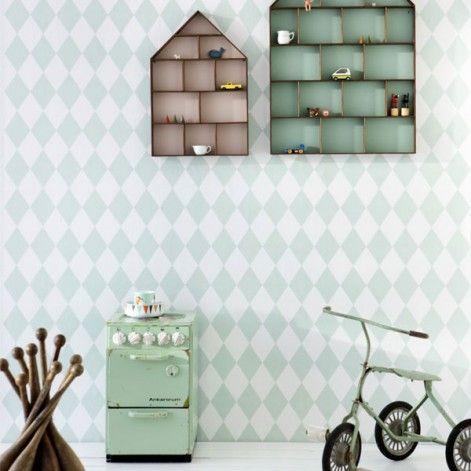 Scandinavisch design behang kastjes Ferm Living