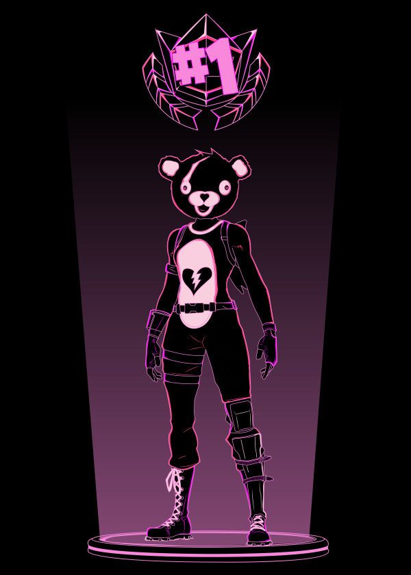 Fortnite Character Silhouettes Teddy Bear Displate Artwork By Artist Donnie Part Of A 5 Piece Set Based On C Fortnite Epic Games Fortnite Colorful Drawings