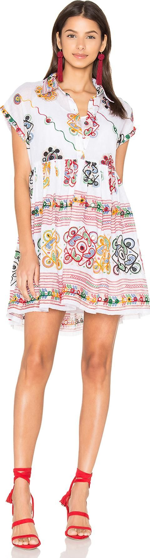 Cotton Tribal Boho Dress. 100 cotton. Hand wash cold. Fully lined. Partial front button placket. Embroidered detail with mirror disc accent.#JulietDunn #White #Dresses #Revolve Clothing #Women #fashion #obsessory #fashion #lifestyle #style #myobsession #boholook #bohemianstyle #bohochic #ss17 #bohofashion #trends #fashionforwomen