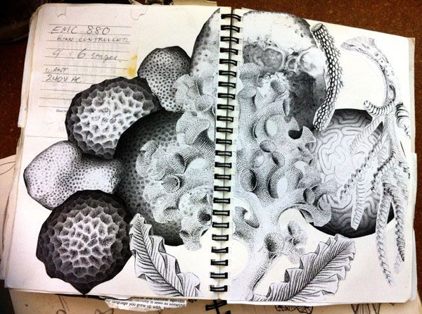 maria chatzinikolaki  - sketchbook. note: this is showing deep 7 formal elements. i can see texture and tone line and pattern the most. (draw a big picture like that)
