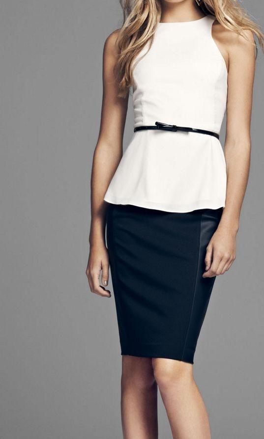 peplum top pencil skirt express fashion