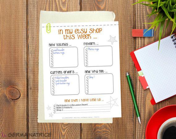 Ma To do list pour boutique etsy  VERSION par LaGermainatrice