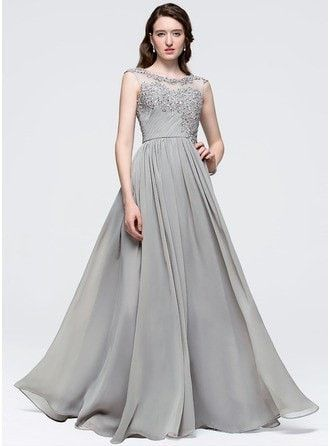 A-Line Princess Scoop Neck Floor Length Chiffon Prom Dress With Ruffle Beading Sequins 018089735 g89735