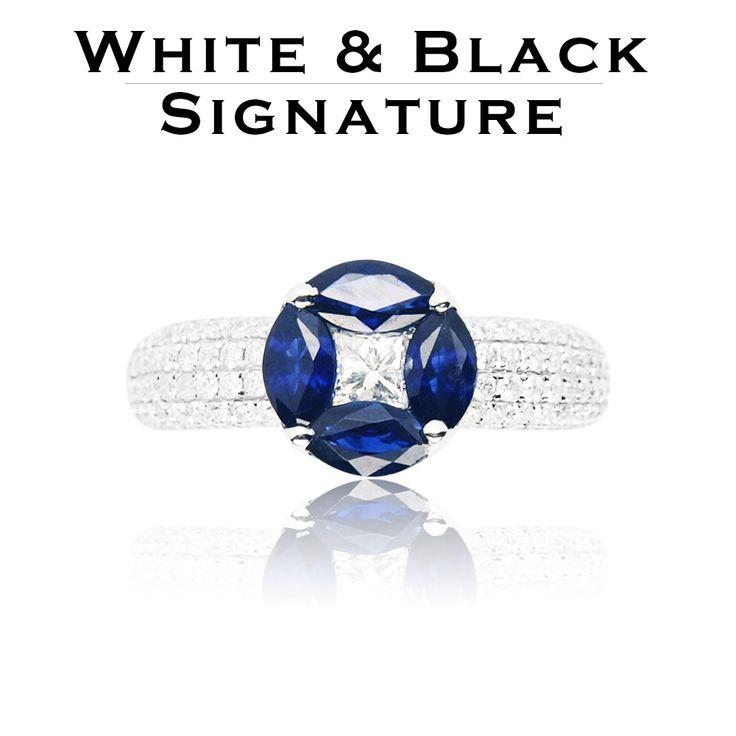 Navette csiszolású zafírok közé rejtett gyémánttal díszített gyűrű fehéraranyból - White gold ring set with navette sapphires and diamonds