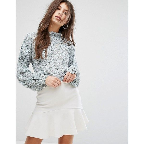 Fashion Union High Neck Smock Top With Ribbon Tie Gathers (57 CAD) ❤ liked on Polyvore featuring tops, blouses, navy, high-neck tops, tie blouse, blouson blouse, smock top and party tops