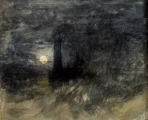 The Eddystone Lighthouse in a Storm At Night, With Shipping (c. 1813), J.M.W.  Turner
