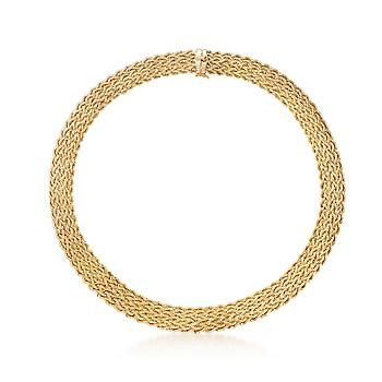 """Richly woven of roped 14kt gold, our collar necklace dresses the neckline in the glow of pure luxury. 1/2"""" wide. Figure 8 safety. Box clasp, 14kt yellow gold collar necklace. Free shipping & easy 30-day returns. Fabulous jewelry. Great prices. Since 1952."""