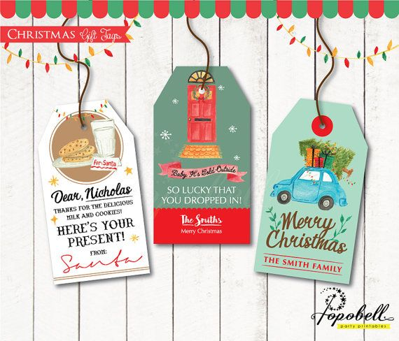 Christmas Gift Tags for Christmas Party. DIY Christmas by Popobell