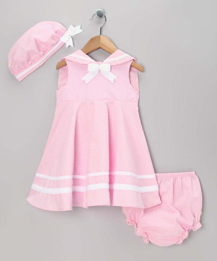 Look what I found on #zulily! Rare Editions Pink Seersucker Nautical Dress Set - Infant by Rare Editions #zulilyfinds