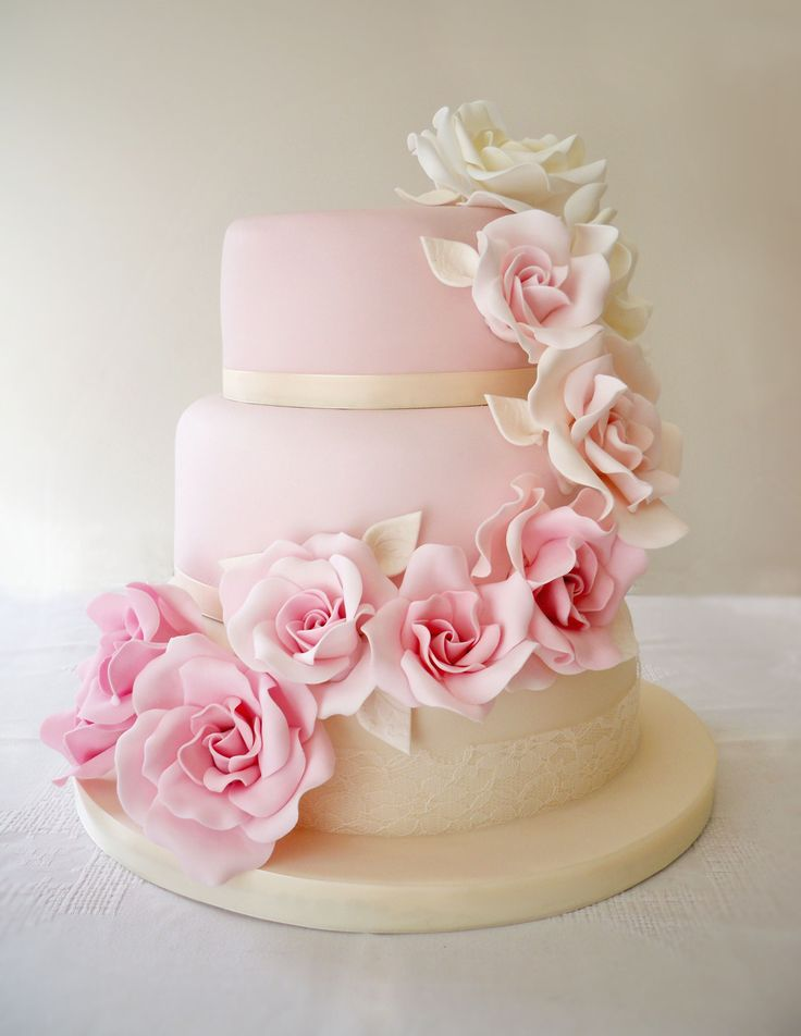 Ombre rose cascade wedding cake. #weddingcake # ...