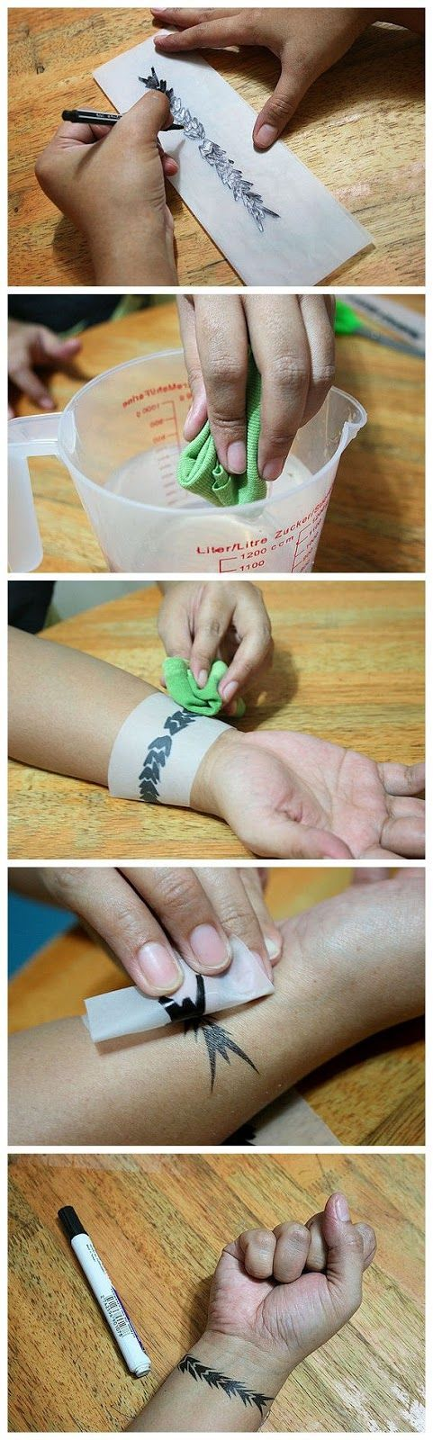 DIY Temporary Body Tattoo. easy peezy. just use tracing paper, a gel pen, an old cloth and water. Almost like the tattoos you buy from Walmart except you design your own.... good way to test out a tattoo you want to get done before it's permanent!