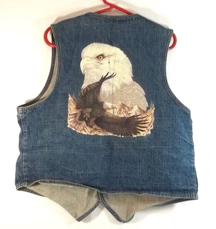 Vintage Levis Orange Tab Vest XL Eagle Applique Blue Jean Biker Dress Western #Levis #vest