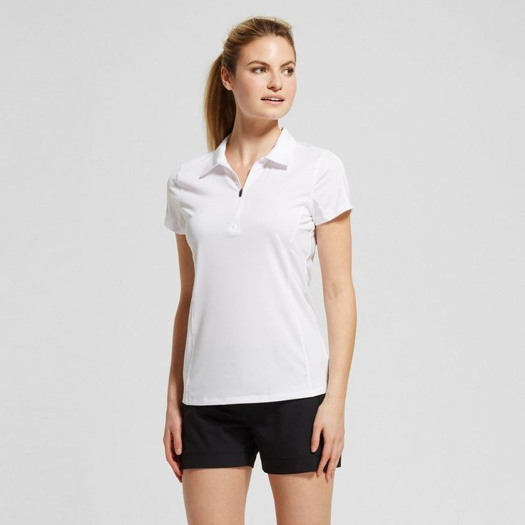 Women's Zip Up Golf Polo T-Shirt - True White XS - C9 Champion