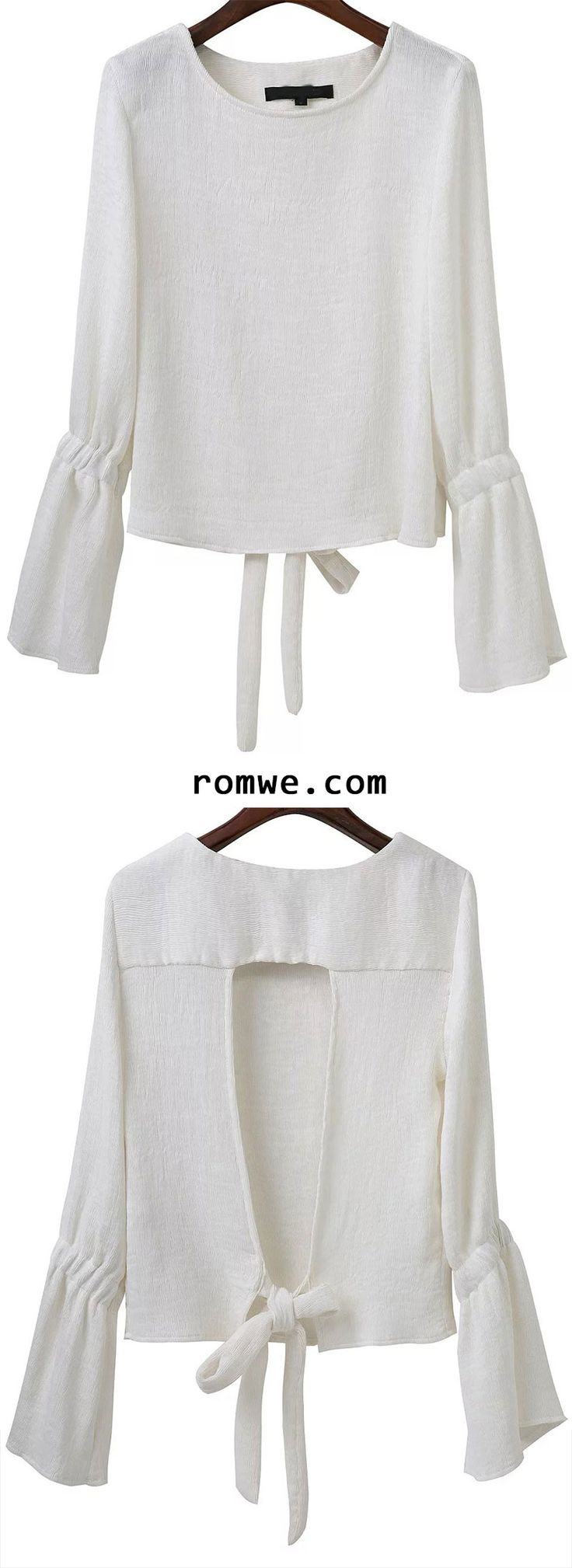 White Open Back Bell Sleeve Blouse With Tie