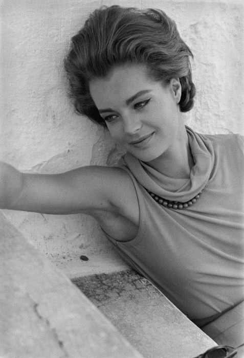 Romy Schneider on the set of Dix Heures et Demi du Soir en Ete (directed by Jules Dassin). Photo: Gian Carlo Botti, 1964.