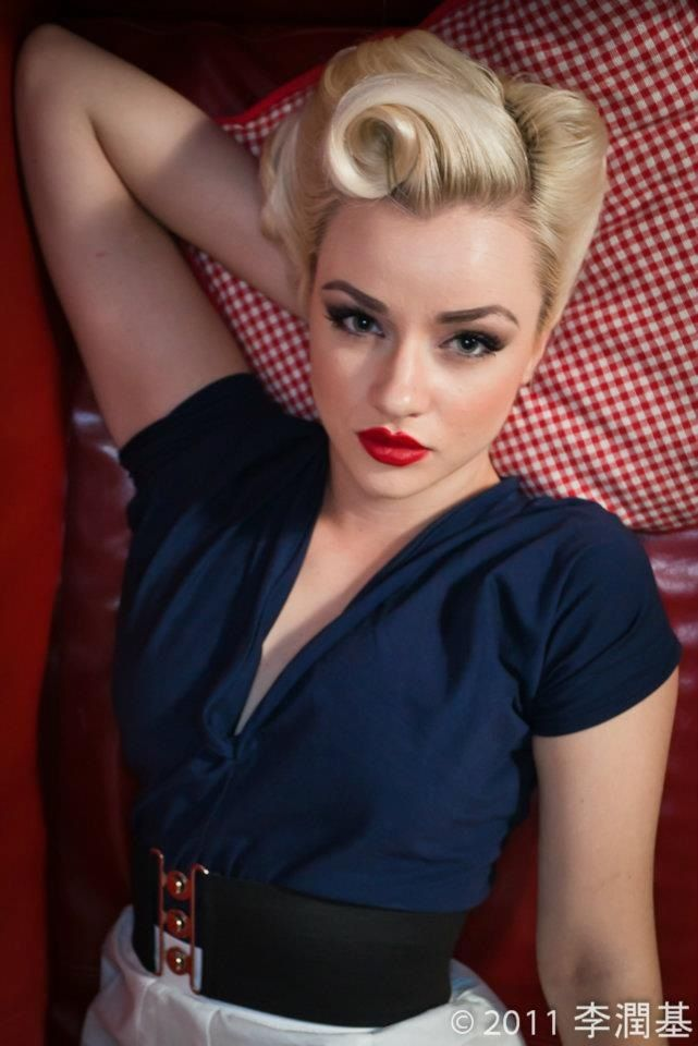 50s hairstyle pinup makeup Wedding hair with a vintage dress perhaps